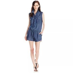 7 For All Mankind Military Romper Chambray Button